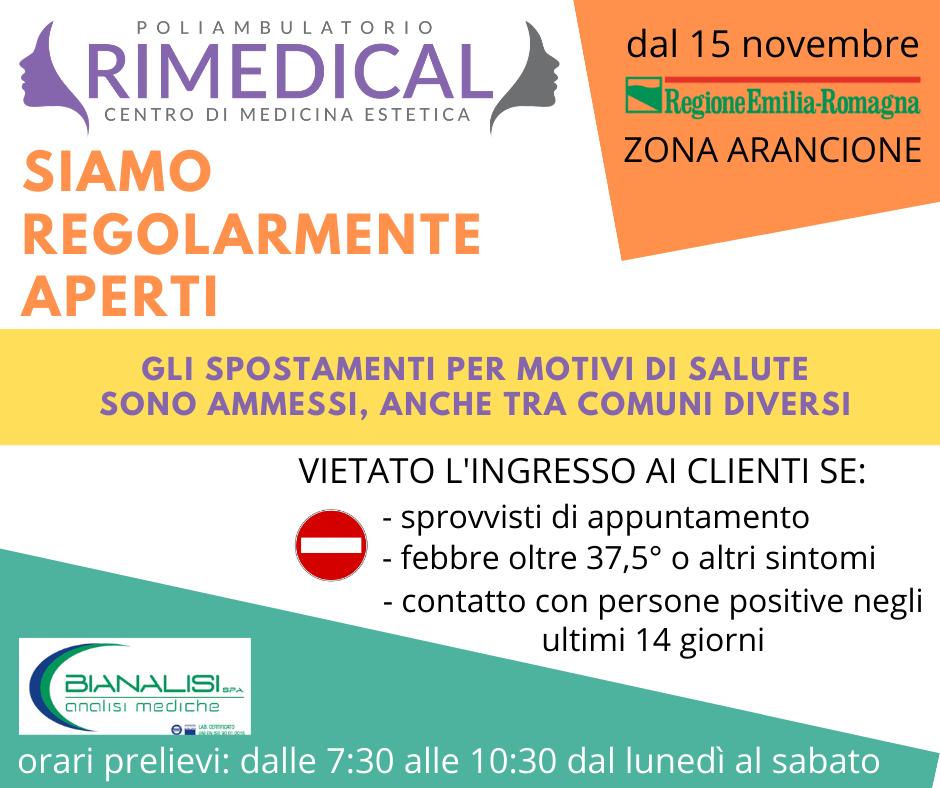 #DAL15NOVEMBRE poliambulatorio rimedical regolarmente aperti